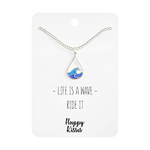 Happy Kisses Ocean Wave Necklace - Cute Drop Shape Pendant for Surfer, Sea Lover, Hawaiian or Beach Enthusiast - Blue Wave Jewelry is a Great Gift for Any Woman