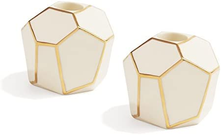 Geometric Modern Ceramic Candleholders with Gold Trim, Set of 2, Ivory Porcelain Candle Holder, Taper Candle Size