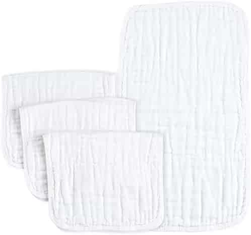 PPOGOO Muslin Burp Cloths 100% Cotton, White, 4 Pack, Large 21