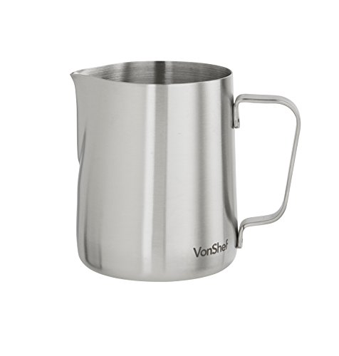 VonShef Stainless Steel Milk Pitcher Suitable for Coffee, Latte & Frothing Milk, Available in 12-Oz, 20-Oz and