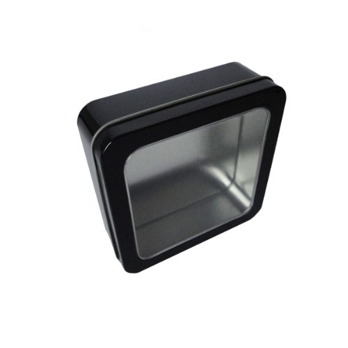 Hampton Art Wrap it Up Square Tin Box with Clear Lid, Black