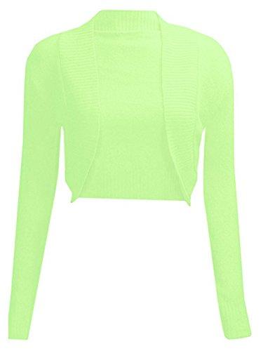 de Manchon Haut Janisramone Femmes tricot Vert Longue Citron Bolero Cardigan Les Plaine Haussement qEOUxzERw6