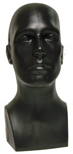 15'' Tall Male Mannequin Head Durable Plastic Black (50013)