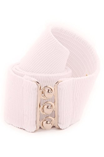 (Malco Modes Wide Elastic Cinch Waist Belt Stretch Belt for Women, Child up to Plus Sizes White)