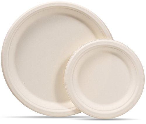 - Select Settings [100 COUNT] Compostable eco-friendly Round Plates 50 dinner plates and 50 small dessert plates made from wheat straw fiber bagasse (sugarcane)