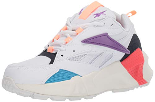 Reebok Women's Aztrek Double Mix Pops Running Shoe, White/Grape Punch/Bright, 5.5 M US