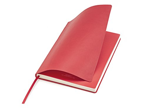 (Premium Smooth Soft Cover UberWorks AIR Notebook Bullet Journal Red with Unique Matching Color First & Last Inner Pages, Medium A5, 192p. Plain/Clear Italian Paper, Folder Pocket, Stickers & Index)