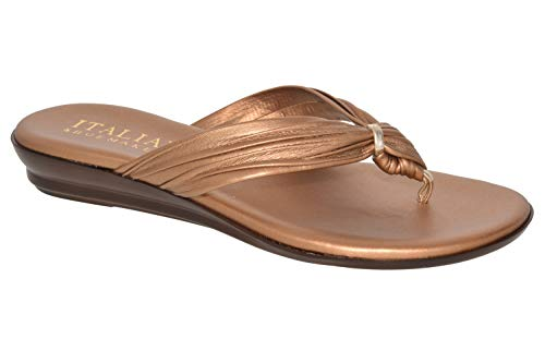 ITALIAN Shoemakers Womens Aleena Criss Cross Fashion Sandals Made in Italy,Bronze,6