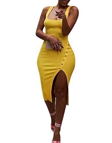 Salimdy Womens Sexy Soild Sleeveless Strap Tank Ribbed Buttons Side Split Bodycon Irregular Long Pencil Midi Dress Yellow S