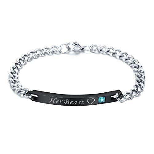 UpBeauty Fashion Titanium Steel Couple Wristband Bracelet Jewelry Anti-Allergy Bangle Bracelets from UpBeauty