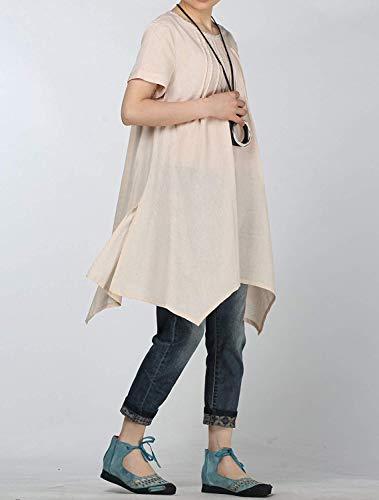 Tshirt Top Beige Lunghe Maniche colore A Medium Manica Dimensione Lino Corta Da Qiusa Estivo Donna In UdRqSU