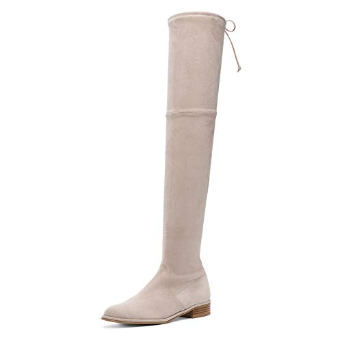 Lutalica Women's Fashion Casual Flat Heel Stretchy Lace Over The Knee Thigh High Boots Beige Suede