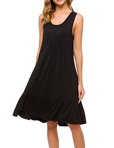 CzDolay Sleep Dress Women's Sleeveless Sleepwear Casual Loungewear Nightgown (Black, Small)