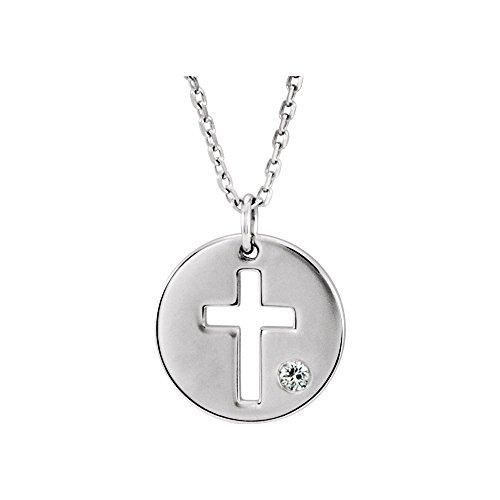 Jewels By Lux 925 Sterling Silver .03 CTW Diamond Pierced Cross Disc Necklace