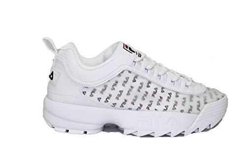 Fila Women's Disruptor II Sneaker (7, White/Navy/Red - Clear Logos)