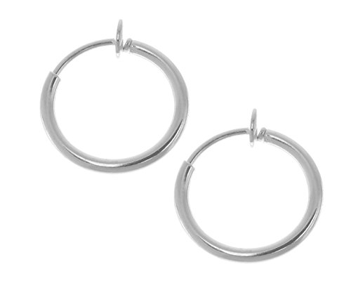 [Pair of 3/8 in. Silver Color Non Pierce Clip on Hoop Earrings-Clip on Lip Ring-Fake Nose Ring] (Sexy Halloween Costumes Canada)