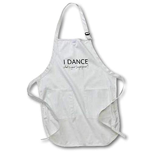 3dRose I Dance - Whats Your Superpower - Funny Dancing Love Gift for Dancers - Full Length Apron, 22 by 30-Inch, White, with Pockets (apr_184941_1)