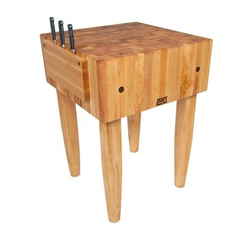 Pro Prep Block - Pro Chef Prep Table with Butcher Block Top Casters: Not Included, Size: 24