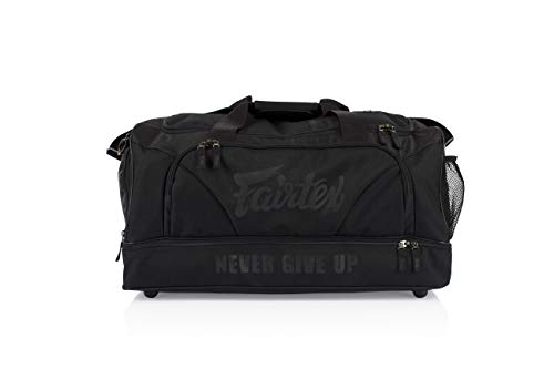 Fairtex Gym Bag Gear Equipment Color Blue or Gray or Yellow for Muay Thai, Boxing, Kickboxing, MMA (Black) ()