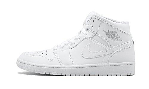 JORDAN MENS AIR JORDAN 1 MID 554724-104  [7.5-13] WHITE PURE/PLATINUM - 1 Air Jordan Mens White