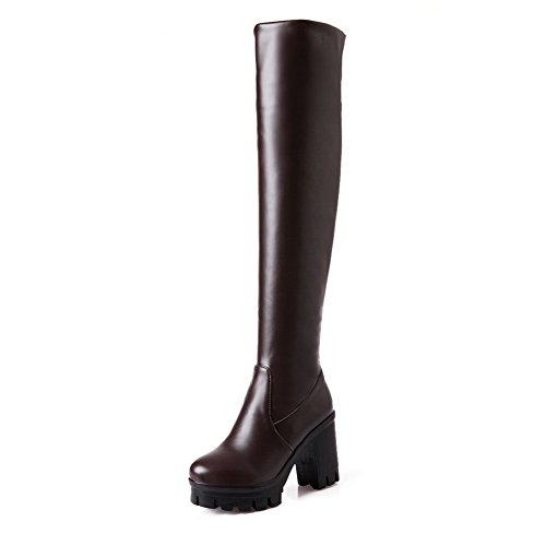 BalaMasa Womens Pull-On Platform Chunky Heels Brown Imitated Leather Boots - 9 B(M) - With Stores Shipping Free Overnight