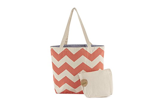 Multi-Purpose Chevron Canvas Shopping/Beach Tote Shoulder Bag with Pouch - 11
