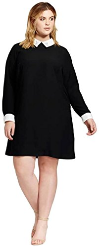 Victoria Dress In Black - Victoria Beckham Women's Shift Dress with Bunny Collar (3X, Black)