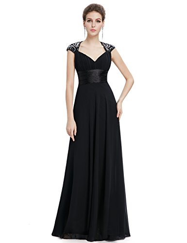 Ever Pretty Damen V-Ausschnitt Lange Chiffon Abendkleider Festkleider Größe 42 Schwarz