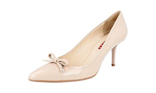 (Prada Women's 3I5497 Beige Leather Pumps/Heels EU 40 / US 10)