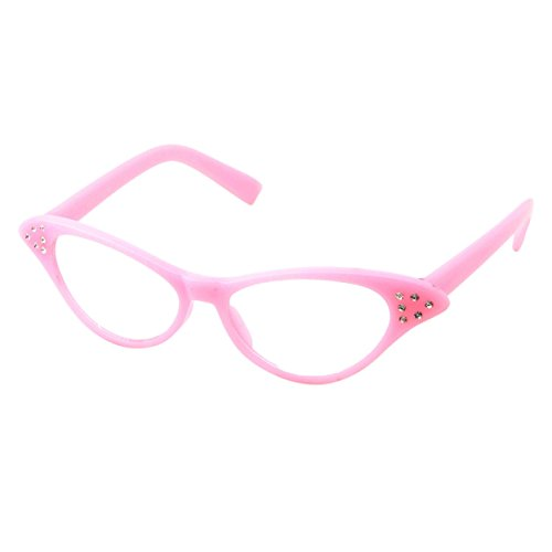 50's Kids Nerd Cat Eye Glasses Girls Costume Children's (Age 3-12) (Pink)]()