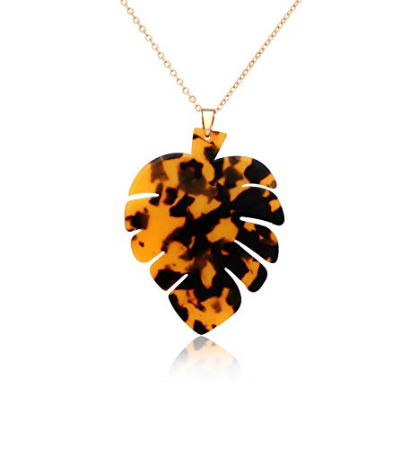 Long Necklaces for Women Girls Statement Palm Leaf Pendant Necklace Resin Monstera Leaf Necklace Fashion Jewelry (Tortoiseshell)