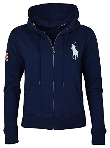 (RALPH LAUREN Polo Womens Big Pony Fleece Hooded Sweatshirt (Large, Navy))