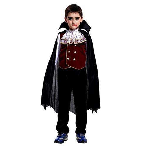 Dreamyth 4-10 Years old Toddler Kids Boys Girls Halloween Cosplay Costume Tops Pants Cloak Outfits Set (Black 53, Height:130-140CM) -