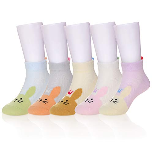 (Eocom 5 Pack kids Girls boys Low Cut Cotton Soft Cartoon Cute Breathable Socks (Rabbit 2, 9-12 Years))