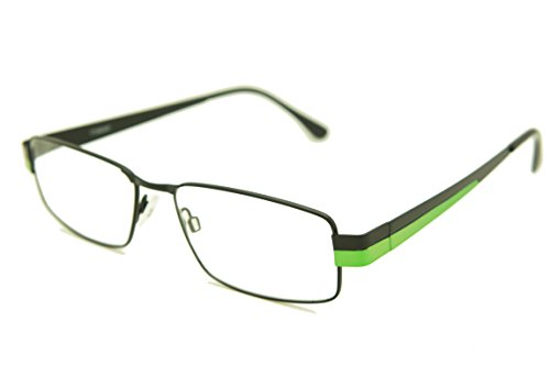 ColorViper Classic Rectangular FULL Rimmed Unisex Metal Two Tone Reading Glasses (matte black shiny green, - Rimmed Metal Glasses