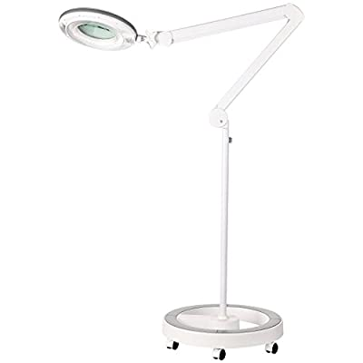 Brightech – LightView Pro Dimmable LED Magnifier Floor Lamp with 6-Wheel Rolling Base – Built with Cool White / Warm White Color Temperature Adjusting LED's - 90 LED's (Certified Refurbished)