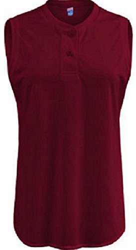 - Soffe Ladies Sleeveless Maroon Two-Button Henley-SMALL