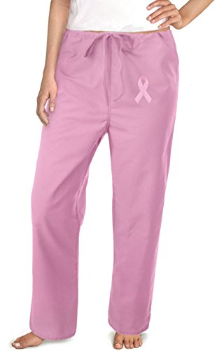Pink Ribbon Scrub (Pink Ribbon Pink Scrubs Pants Bottoms-Sz MED- Breast Cancer Support Ladies)