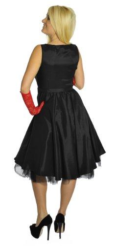 Ska schwarz Schwarz Satin Gürtel Rockabilly Punk Burlesque Kleid Style mit p8zqwaI1