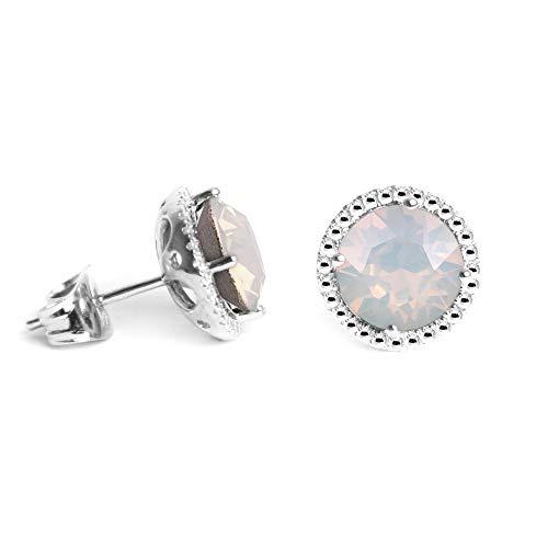 (Swarovski Earrings, October Birthstone White Opal Color Swarovski Stud Earrings for Women and Girls, Swarovski Crystal Earring Studs with Certificate and Warranty, Hypoallergenic Stud Earrings)