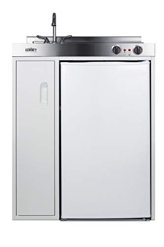 Summit C30EL 30 Inch Wide All-In-One Kitchen Unit – Refrigerator, Freezer, Stainless Steel Countertop, Cooktop, Sink, and Storage Compartment