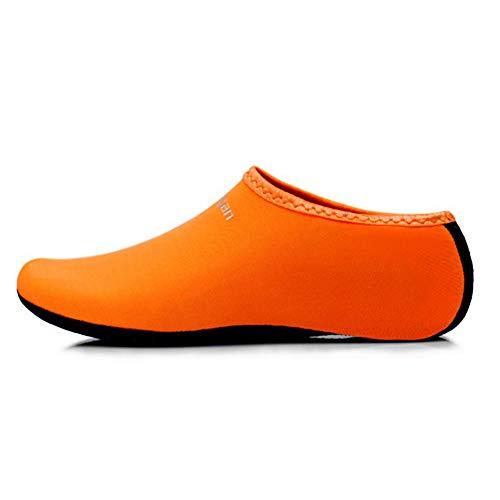 mit Wasserschuhe Schnell Trocknend Damen Herren Sohlen Aelegant Aquaschuhe Orange Badeschuhe Schwimmschuhe für Kinder Strandschuhe Wasserdicht Surfschuhe Rutschfeste 8O0zqIx