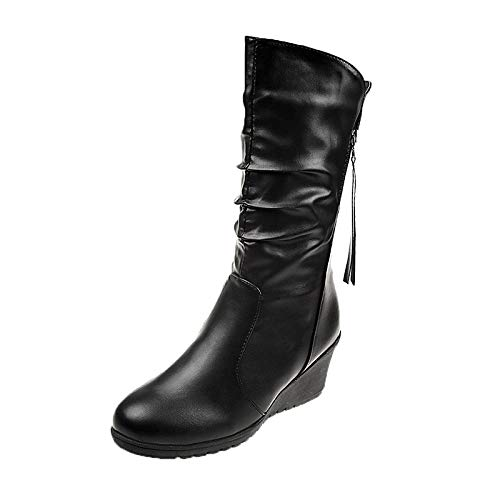 Black US9.5-10   EU41   UK7.5-8   CN42 Black US9.5-10   EU41   UK7.5-8   CN42 Women's Fashion Boots Faux Fur Fall & Winter British Boots Wedge Heel Round Toe Mid-Calf Boots Black
