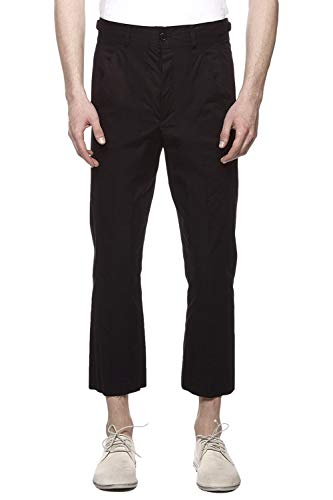 Damir Doma Men's Cropped Stripe Trouser PERIS-1323 Coal Black (Small)