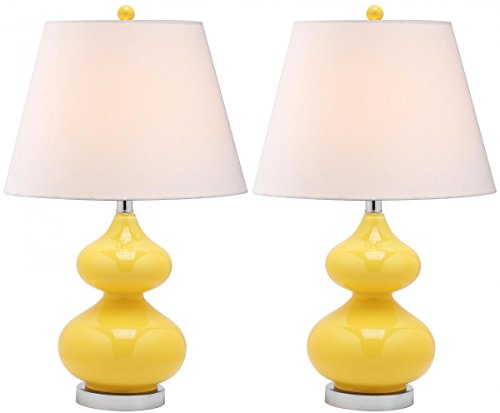 - Safavieh Lighting Collection Eva Double Gourd Glass Table Lamp, Yellow, Set of 2