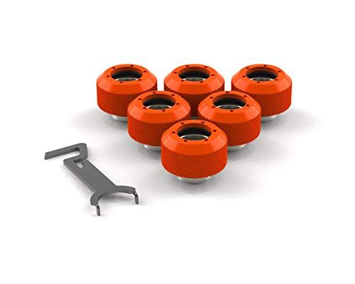 PrimoChill 1/2in. Rigid RevolverSX Series Fitting - 6 Pack - UV Orange