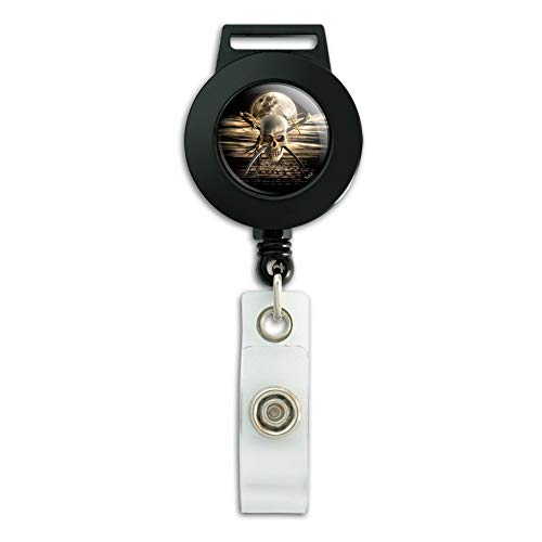 (Pirate Skull Crossed Swords Cutlasses Ocean Moon Lanyard Retractable Reel Badge ID Card Holder )