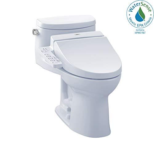 (TOTO MW6342034CEFG#01 WASHLET+ Supreme II One-Piece Elongated 1.28 GPF Toilet and WASHLET C100 Bidet Seat, Cotton White)