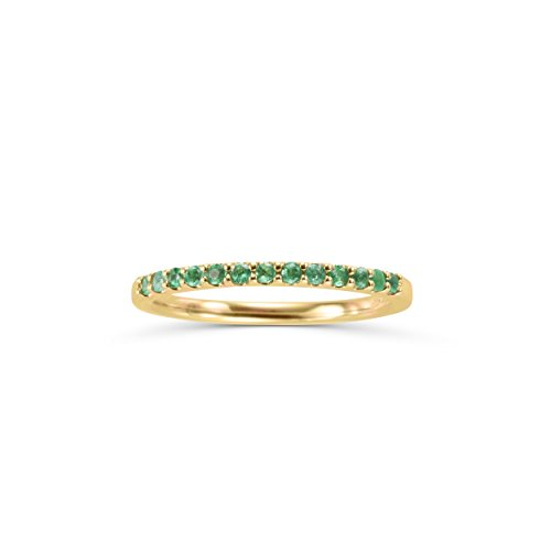 (14K Gold Genuine Emerald Stackable 2MM Wedding Anniversary Band Ring- May)