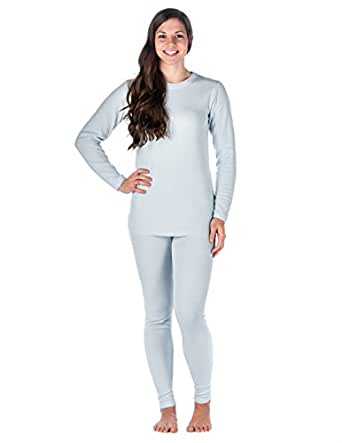 Womens Classic Waffle Knit Thermal Top and Bottom Set - Light Blue - X-Large